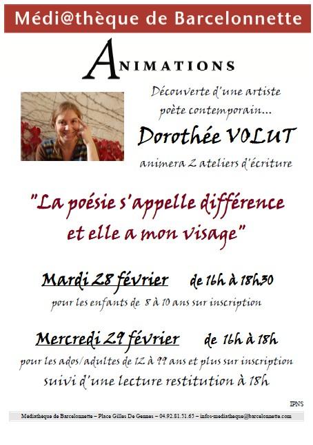Dorothée VOLUT: Atelier autour de la poésie dans Archives affiche