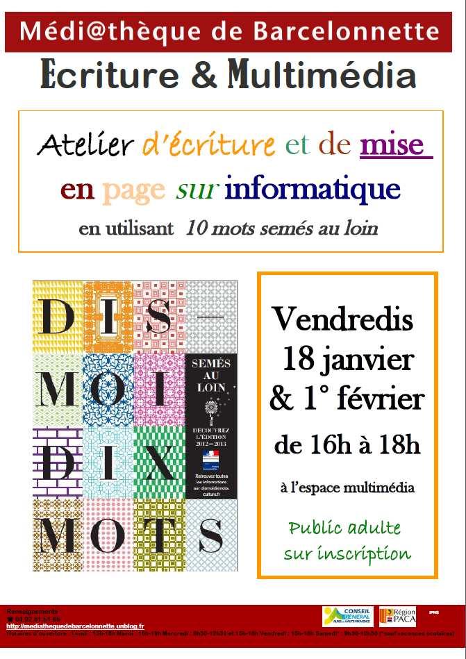 Atelier d'écriture et Multimédia dans Archives affiche